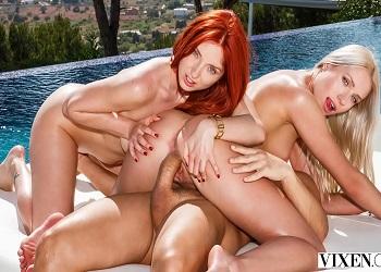 Sesión de fotos al aire libre acaba en un trío junto a la piscina
